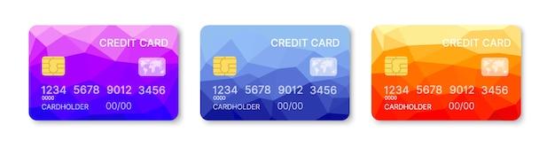 Kreditkarten stellten mehrfarbenschablonenvektor ein