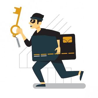 Kreditkartendieb, der mit schlüssel auf seiner hand läuft