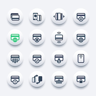 Kreditkartensymbole für mobile-banking-apps, kontaktloses bezahlen, neue karte hinzufügen, verarbeitung