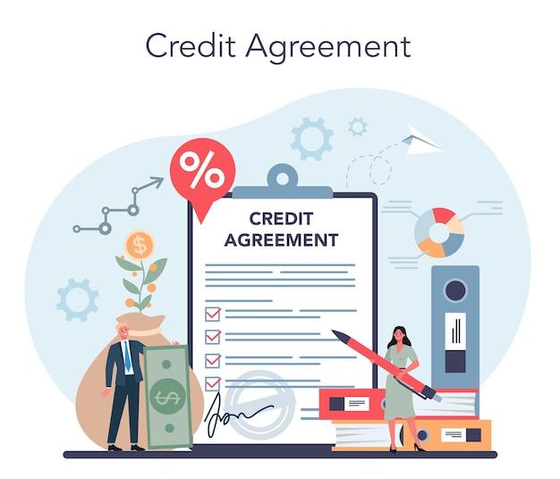 Kreditmanager-konzept. bankangestellter, der mit kreditvereinbarung arbeitet. idee von finanzeinkommen, geld sparen und wohlstand. vektorillustration im flachen stil