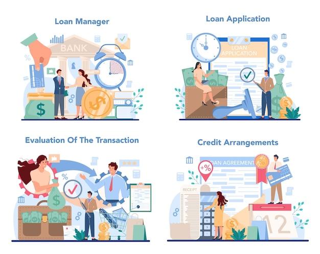 Kreditmanager-konzeptsatz