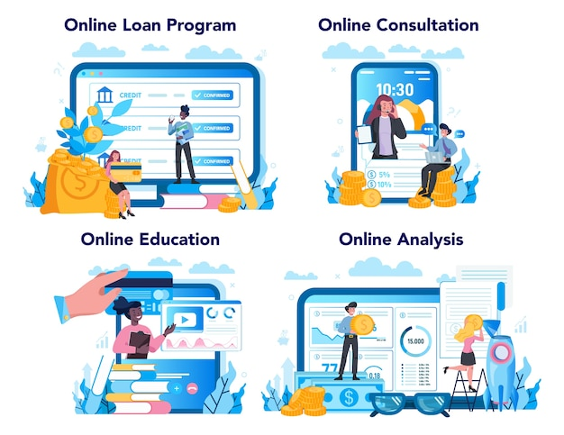Kreditmanager online-service oder plattform-set