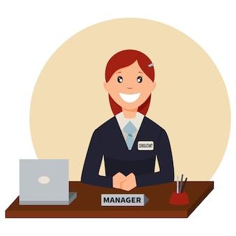 Kreditmanager sitzt an einem tisch im bankbüro.