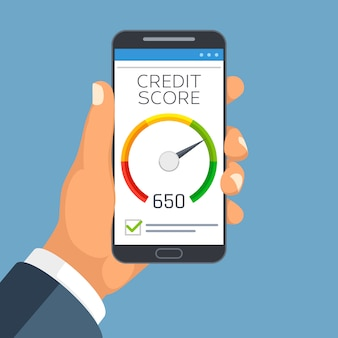 Kreditscore-geschäftsbericht auf smartphoneschirm.