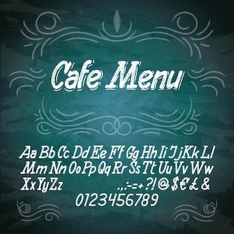 Kreide alphabet schriftart handschrift kursiver stil auf tafel.