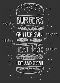 Kreide gezeichnete bestandteile des klassischen cheeseburgers.