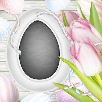 Kreidebrett und eier.