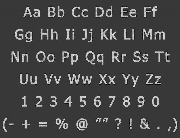 Kreidehandzeichnung beschriftet englisches alphabet