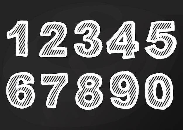 Kreidenummer auf der tafel, handzeichnung des schulzeichens, cartoon-pub und bar-design. vektor