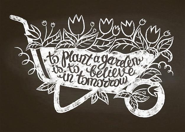 Kreideschattenbild des weinlesegartenkarrens mit blättern und blumen und beschriftung.