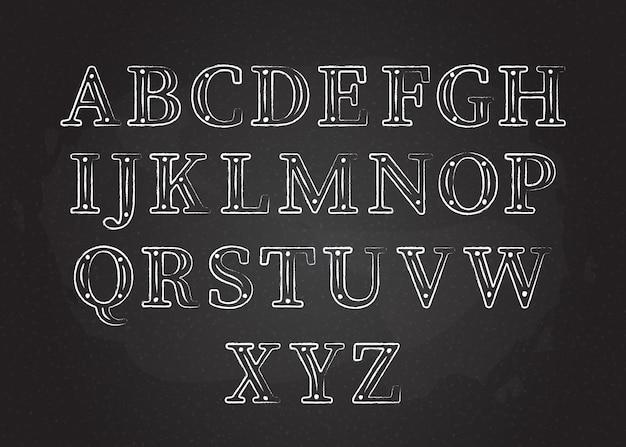 Kreideschrift abc sammlung vektor-illustration weiße kontur kreide stil großbuchstaben mit punkten