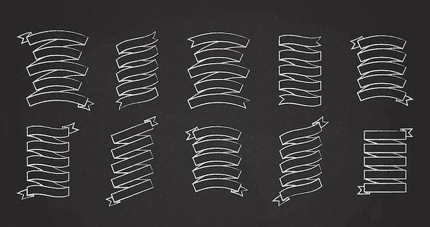 Kreidestrich leeres etikett band vektor-set illustration vintage design weiße kreide stil band