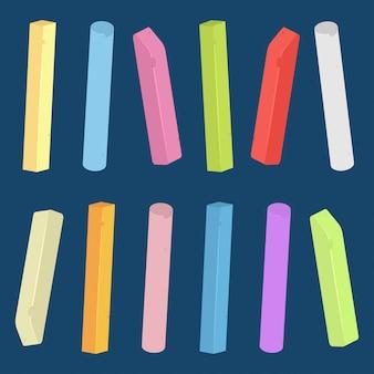 Kreidestück und stab der verschiedenen farben vektorsatz isoliert.