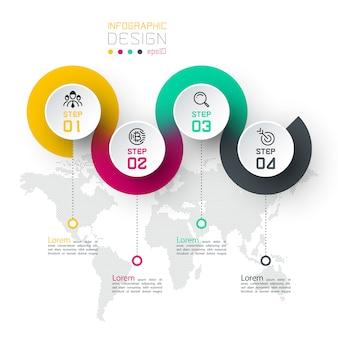 Kreis beschriften infografik mit schritt für schritt.
