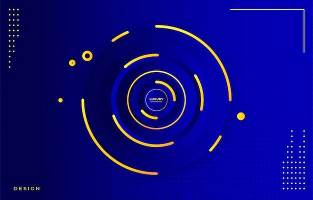 Kreis blauer farbverlauf und goldener luxushintergrund