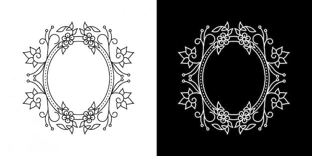 Kreis blumenrahmen monoline