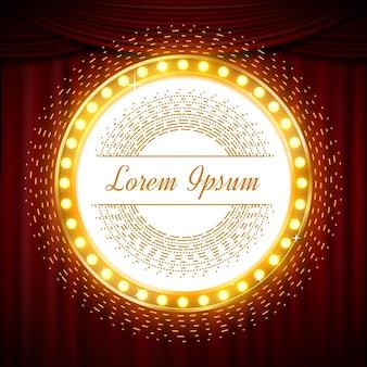 Kreis glitzerndes goldenes banner auf rotem vorhang. glitzer goldene runde und illustration vorlage glitzer banner mit glanz