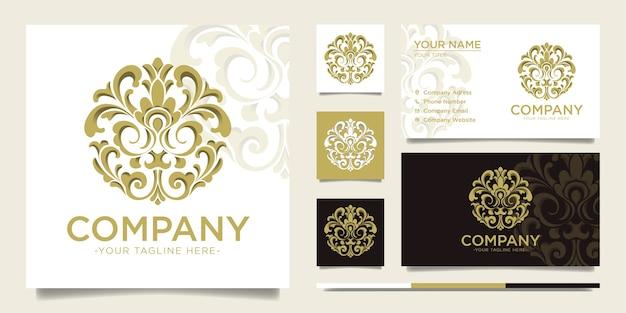Kreis gold dekorative vintage logo und visitenkarte vorlage