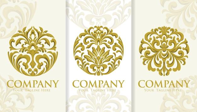 Kreis gold dekorative vintage logo-vorlage