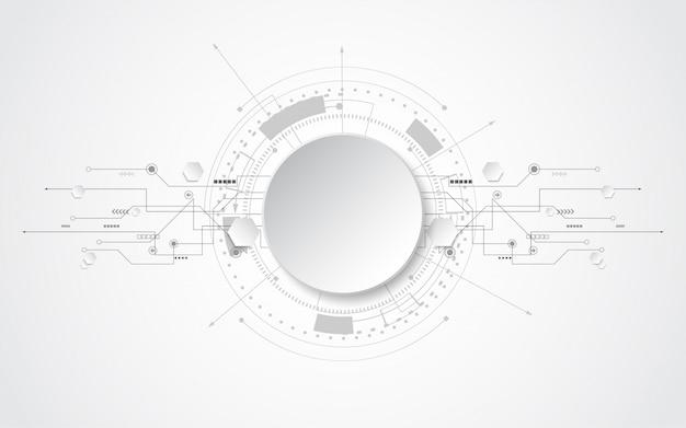 Kreis grauweiß abstrakter technologischer hintergrund mit verschiedenen Premium Vektoren