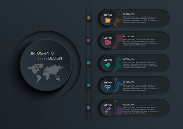 Kreis infografik mit 5 optionen