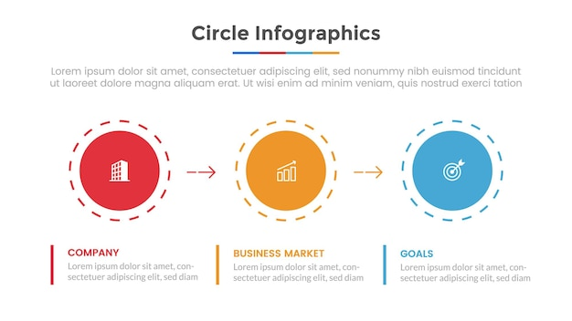 Kreis infografik mit listenpunkt und moderne flache vorlage vorlage für die präsentation