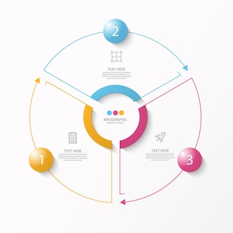 Kreis infografik vorlage mit 3 schritten, prozess oder optionen, prozessdiagramm,