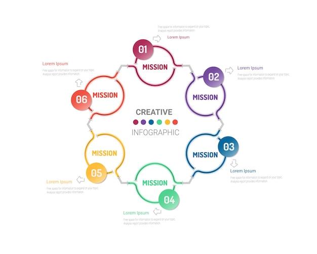 Kreis infografiken elemente design mit nummer sechs option.
