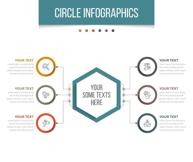 Kreis infografiken mit sechseck
