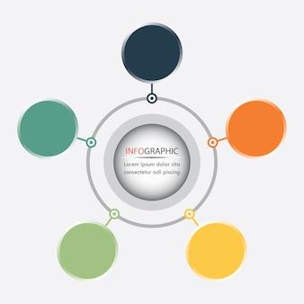 Kreis infographics vektor kann für, diagramm, webdesign benutzt werden. geschäftskonzept mit 5 o
