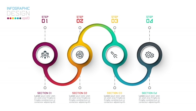 Kreis label infografik mit schritt für schritt.