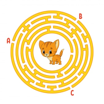 Kreis labyrinth. katzentier. spiel für kinder. puzzle für kinder. rundes labyrinth-rätsel.