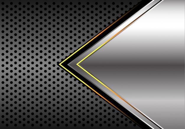 Kreis-maschenhintergrund des silbernen gelben lichtpfeiles dunkelgrauer.