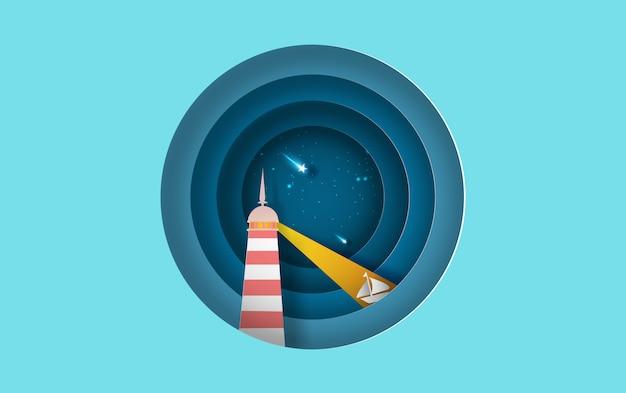 Kreis mit leuchtturm boot meerblick