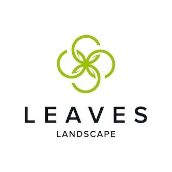 Kreis mit vier blättern für naturlandschaftshintergrund einfaches glattes kreatives logodesign