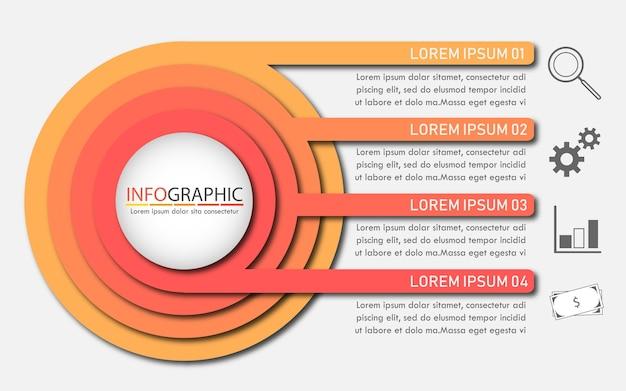 Kreis mit vier themen infographic