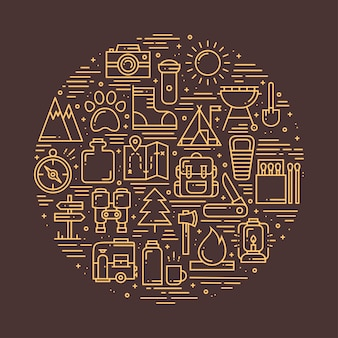 Kreis mit wander- und camping-symbolen
