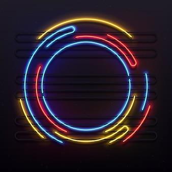 Kreis neonlichter rahmen