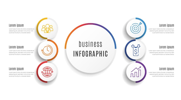 Kreis präsentation infografik vorlage 6 optionen