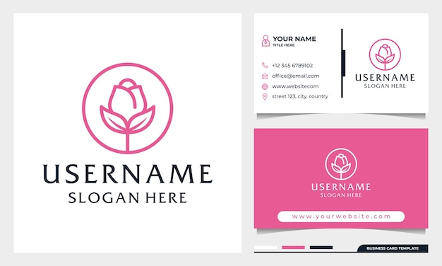 Kreis rose blumen logo design, beauty spa oder kosmetik logo mit visitenkarte vorlage