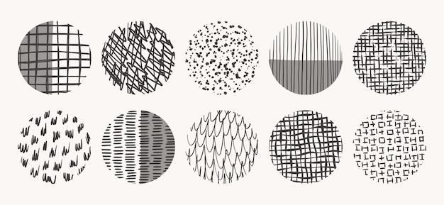 Kreis texturen mit tinte, bleistift, pinsel gemacht. geometrische gekritzelformen von punkten, punkten, kreisen, strichen, streifen, linien. satz von handgezeichneten mustern.