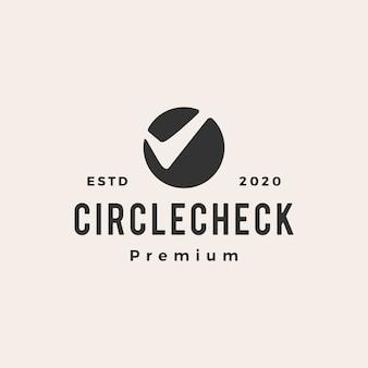 Kreis überprüfen vintage logo symbol illustration