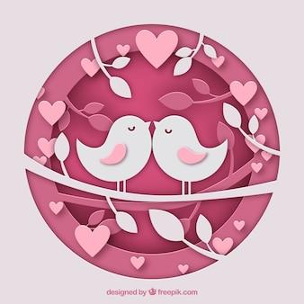 Kreis-valentinstag hintergrund mit vögeln