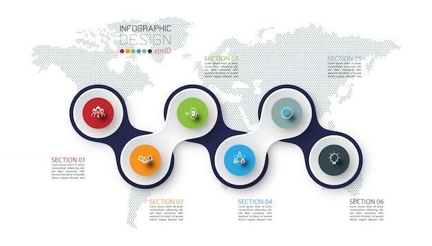 Kreis verbunden mit geschäftsikonen-infografiken auf weltkartenhintergrund.