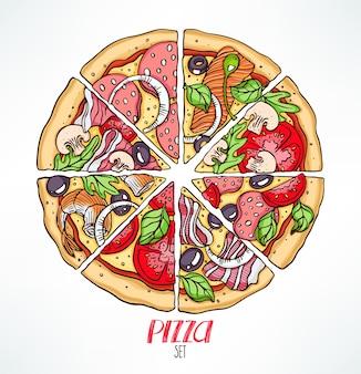Kreis von pizzastücken mit verschiedenen füllungen