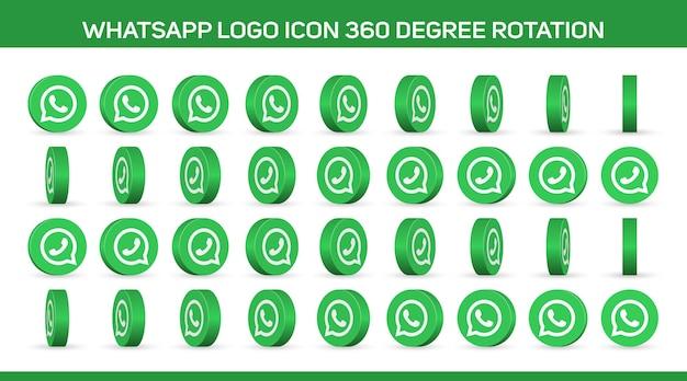 Kreis-whatsapp-logo und telefonsymbole stellen eine 360-grad-drehung für animationen und gifs einzeln auf weiß ein