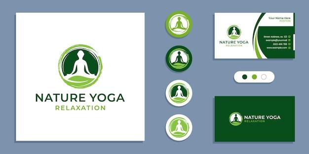 Kreis-zen, yoga-leute mit blatt, natur-yoga-meditationslogo und visitenkarten-designvorlage