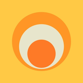 Kreisaufkleber geometrische form, einfaches retro-orange-design auf gelbem hintergrundvektor