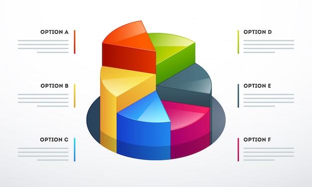 Kreisdiagramm 3d in den verschiedenen wachstumsschritten für geschäft infographics-schablone