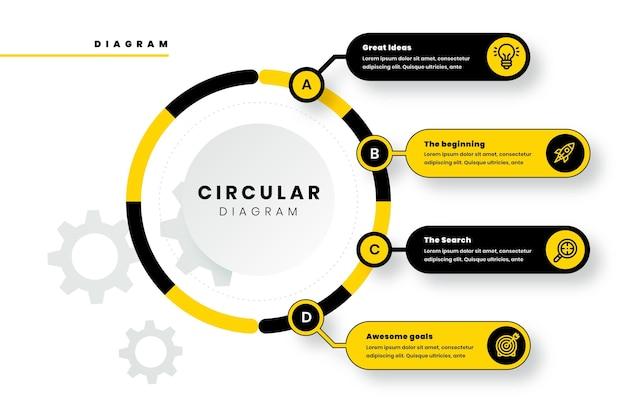 Kreisdiagramm im flachen stil